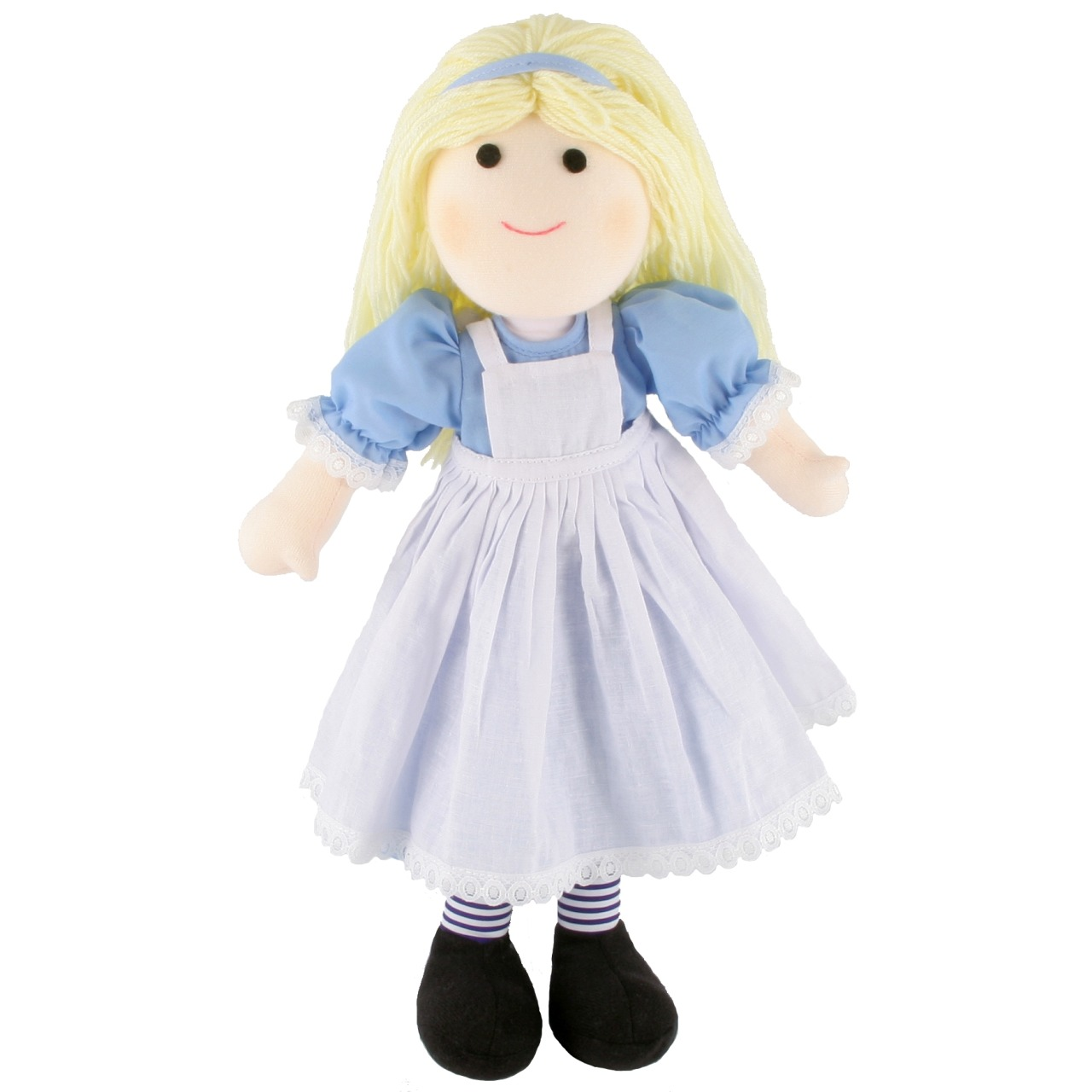 Meet Alice our rag doll from Alice in Wonderland, a beautiful rag doll ready to be your special friend! She is wearing a tradtional white pinafore over a blue blouse complete with blue striped tights.  Adorable!! I just want to squish her c: