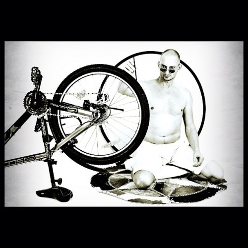 "From my photo-session ""INSPIRED BY…"" - ""Gandhi at his Spinning Wheel"" (1946) by Margaret Bourke-White http://on.fb.me/VIiFuX #photo #white #black #art #romanenko #alena"