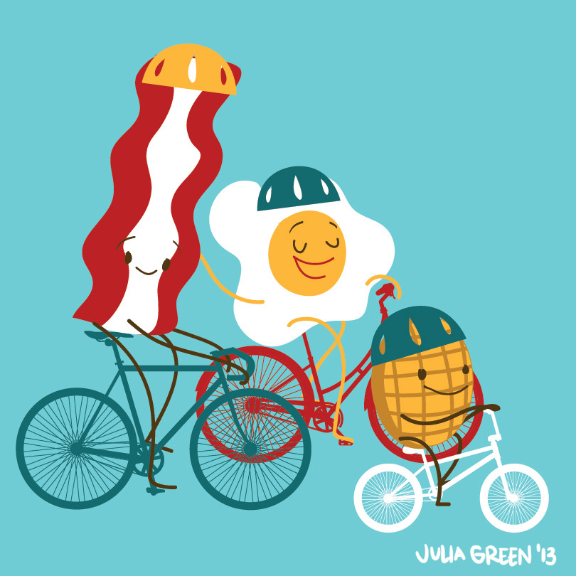 These are some characters I created for work to promote our Bike to Work Breakfast Station! Free Breakfast for biking to work!   I wish I had a little waffle guy I could keep with me at all times!