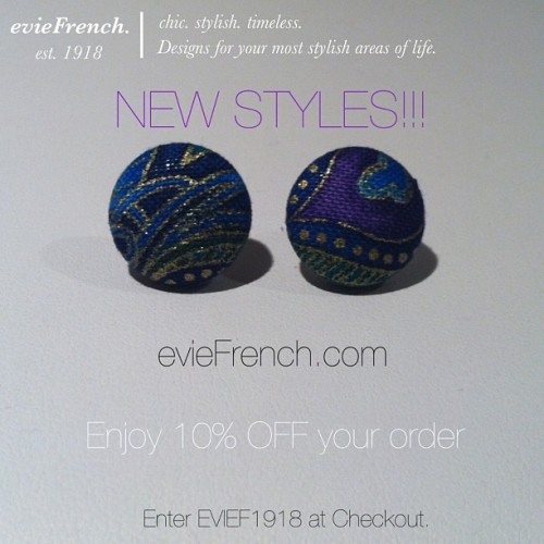 New styles from evieFrench.com!!! Enjoy 10% OFF your purchase. Enter EVIEF1918 at checkout. @evieFrench #eviefrench #earrings #accessories #jewelry #luxury #style #fashion #cute #love #losangeles #discount #sale #save #peacock #print #colors #summer #cali #luxury #boutique #buy #shop #beautiful #pretty #stylish #fashionable #buttons #glitter #new #la