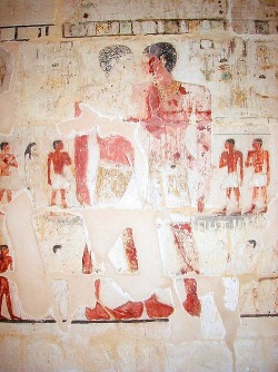 "grotle:  Niankhkhum and Khnumhotep known as the first gay couple of history (around 2400 B.C.E). They were found in the same tomb, holding hands. Their names mean ""joined in life and joined in death"". According to the tomb inscriptions, they might have adopted kids."