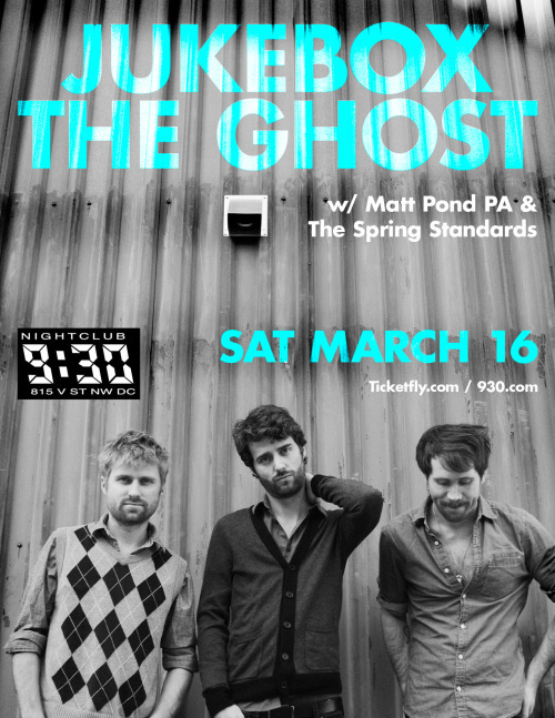 "PREVIEW: Jukebox The Ghost Maaan, we love these local (they met at GW) guys! Jukebox the Ghost are well on their way to becoming 9:30 vets (this is their 3rd year playing the Club), and there is a good reason why! With their infectious feel-good, piano-heavy indie-pop, one listen and you'll be bouncing around. Their lyrics range from fantastical and tons of fun to mature beyond their years, and Jukebox will be sure to span it all, drawing songs from all 3 of their albums. And a cool thing to note: if you decide to whip out that camera during any part of the show, you won't be that person: JtG has actually requested fans take videos of themselves and the band (particularly during the songs ""Everybody Knows"" and ""Say When"") for a special surprise video project! More information can be found here. We can't wait for this one! -Samantha Turnbull"
