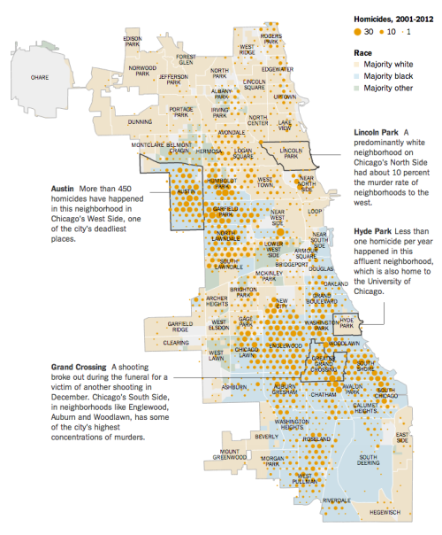 ilovecharts:  A Chicago Divided By Killings via Kurt White