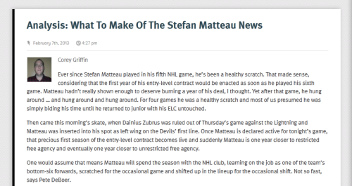 cgriffin415:  Stefan Matteau played in his sixth NHL game last night, meaning his NHL contract officially kicks in. Does that mean he's staying with the Devils or heading back to junior? Maybe neither. I explain on SNYDevils.com.
