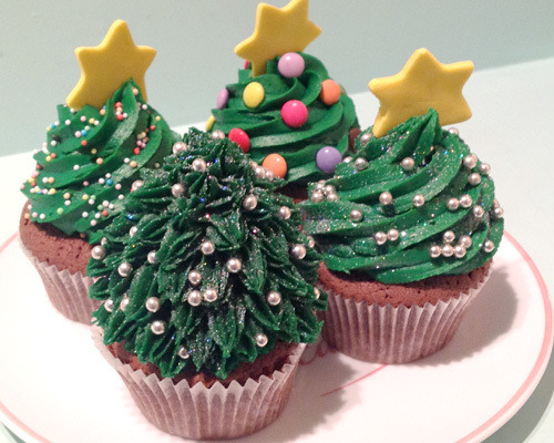 Christmas xmas festive christmas trees food cupcakes