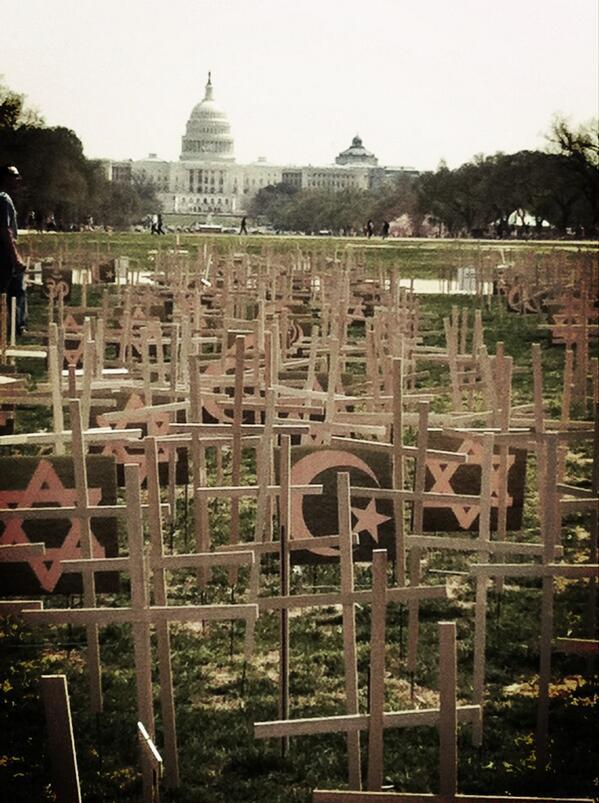 Crosses, crescents, and stars on the National Mall in Washington, DC to commemorate victims of gun violence since Newtown. (h/t to Tiffany Stanley)