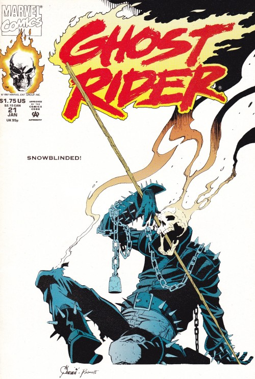 LOVE this cover. It's rare that you see Ghost Rider in a position of explicit vulnerability.