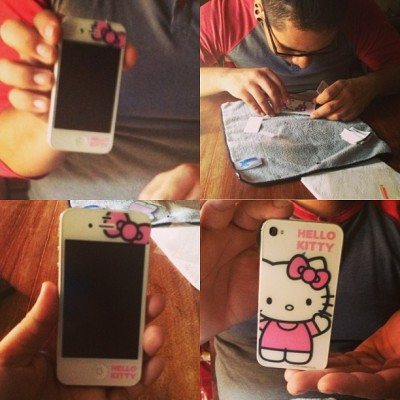 @purplefiend007 bought/put on my new hello kitty screen protector on my phone 😘💁  #HelloKitty