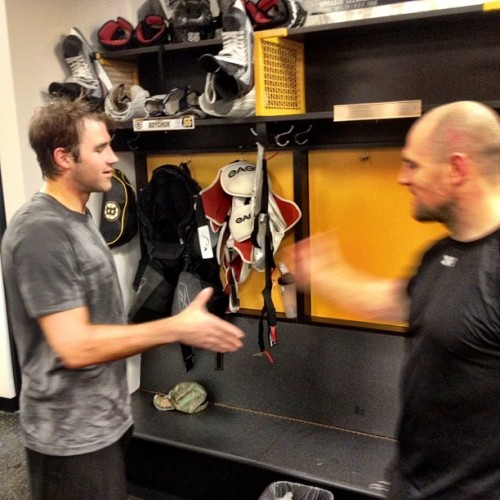Happy Birthday to Johnny Boychuk! Seidenberg gave him this bday handshake in the locker room.. #nhlbruins