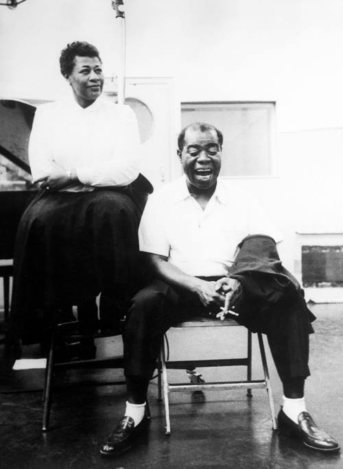 choirisland:  badmaddog:  Ella Fitzgerald and Louis Armstrong the studio, 1956  My heroes.
