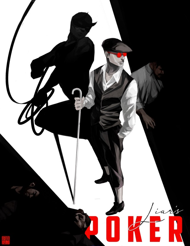 matt murdock standing infront of a spotlight, looking to the right. gangsters lay around his feet, and his shadow is morphing into daredevil. The text says Liar's Poker