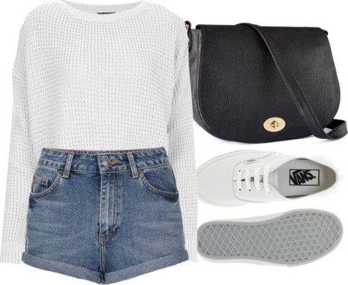 Requested hotpants by ieleanorcalderstyle featuring wide sneakers  Topshop short sleeve sweater / Topshop high waisted shorts / Vans wide sneaker, $72 / H&M , $23