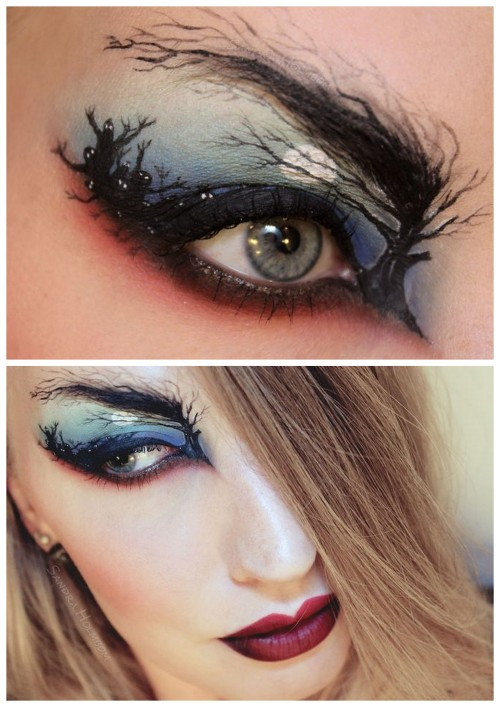 "halloweencrafts:  DIY Halloween Makeup Inspiration from Sandra Holmbom here. No tutorial but a list of makeup used is listed at the link with more photos. For more incredible Sandra Holmbom makeup go here: truebluemeandyou.tumblr.com/tagged/psychosandra  truebluemeandyou: I love Sandra Holmbom's FX and ""real life"" makeup. It's always new and unexpected."