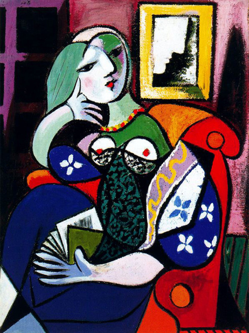 Pablo Picasso Woman with a Book, 1932, oil on canvas, 130.5 x 97.8 cm The model for this brightly colored painting was Picasso's mistress, Marie-Therèse Walter, who in this picture looks up from her book and momentarily daydreams. Picasso based his portrait on one of the extraordinary portraits by Dominique Ingres - Madame Moitessier. Striking similarities can be noted in the pose, graceful lines and in the reflected image in the mirror behind the armchair.