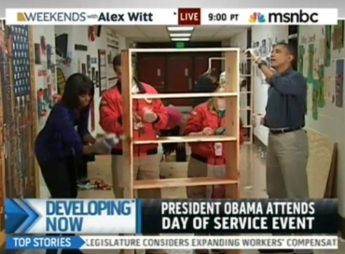 President Barack Obama and First Lady Michelle Obama attend a Day of Service event at Burrville Elementary School. Find a Day of Service event near you