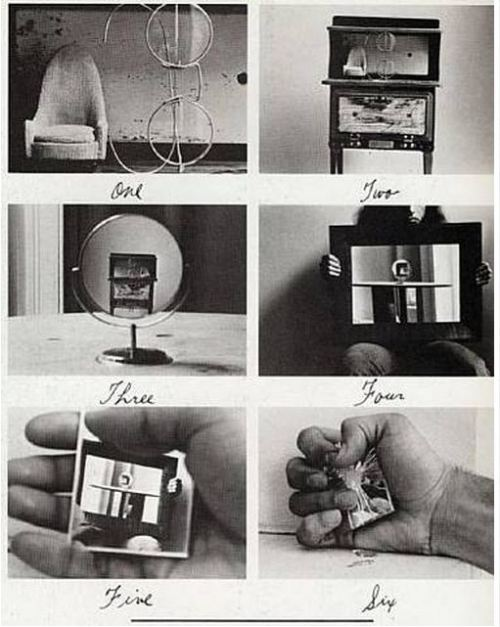 vahc:  This is the work of Duane Michals and he has been playing a game with us. It is a picture in a picture in a picture. This is a digital reproduction on your screen - adding another layer.He is doing it again. He takes a photograph of glasses next to a chair (playing with scale). He prints that photo and put it on what appears to be a radio and photographs it again. He continues this game of photographing and re-photographing. Duane Michals