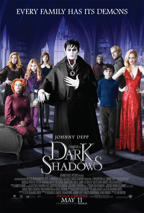 #133 Dark Shadows (2012) Dir. Tim Burton  Poor Tim Burton. Once upon a time he was the voice of a generation of outcasts, misfits, goths and the face of the troubled, gloomy artiste. A true original. Sadly that image has been tarnished by his latest run of CGI-laden weird-fests that lack the punch and edge that made him so distinctive and unique. So along comes Dark Shadows, another teaming with Johnny Depp and Helena Bonham Carter and another film that came and went with a ton of bad reviews in it's wake. Those reviews are the reason it's taken me so long to get round to Dark Shadows. I'll always watch any film Burton directs because I owe him that and there's such a greatness to his early work that any opportunity to see just a glimmer of that greatness again is too good to pass up. But his latest output has been so disappointing and so…tame that the urgency to see his films is fading with increasing speed. Now don't get me wrong, Dark Shadows does have it's problems. It's all over the place both tonally and narrative wise. It doesn't come together as a whole at all and just falls apart by the time the credits roll around. BUT there are flashes of a Tim Burton in this film that I haven't seen in a long long time. The first third especially may be the best thing he has directed in years. Pairing his visuals with the 1970s is such a treat. I can't remember the last time his visual style was so enjoyable and pleasing. Sleepy Hollow perhaps? In fact, Burton's direction actually improves the script's shortcomings and keeps it afloat in many places. I loved Tim Burton most when he kept things practical. The charm of Burton's early films is that they feel synthetic and crafted. You feel like you're watching human characters inhabit a dollhouse world of carefully designed interiors and moods. When CGI came along, that world fell apart and you just couldn't believe in his style any more. It looked artificial but without the weight that practical effects gave him. Dark Shadows brings back some of that weight and also much of the fairy-tale darkness Burton has neglected when he needed it most (Like what the fuck was Alice In Wonderland?). I enjoyed Dark Shadows most as an exercise in style (as well as Eva Green's hotness) and it was refreshing to watch a Tim Burton/Johnny Depp collab that managed to entertain rather than annoy me. He's nowhere near back on form, but this definitely feels like a filmmaker finding his feet again. Let's hope the next one goes a step further and gets the script right.