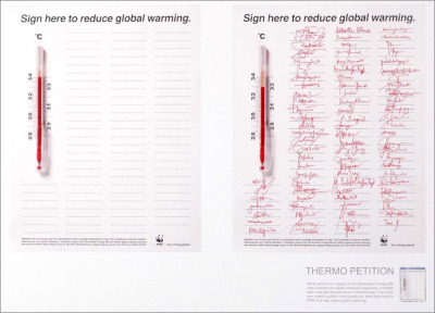 Sign here to reduce global warming. WWF Thermo Petition Ad by BBDO