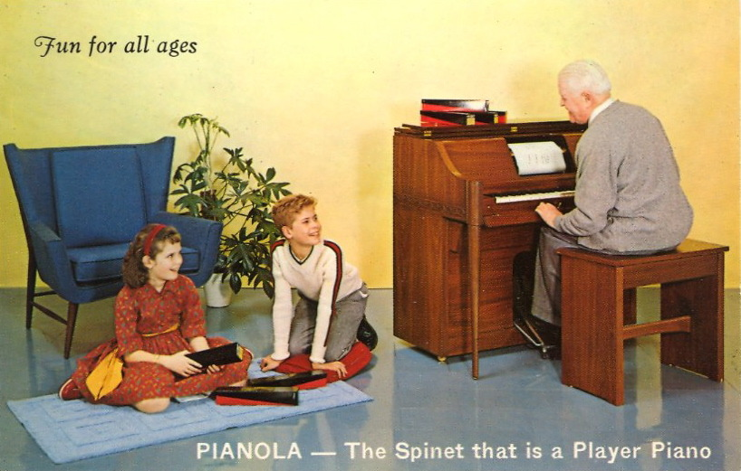 "FUN FOR ALL AGES PIANOLA — The Spinet that is a Player Piano    COMPLETELY NEW! Here, at last, is a piano everyone can play—even if you've never had a lesson in your life! Perfect for parties and family fun…hundreds of new music rolls available. FOR MANUAL PLAY The Pianola becomes a superb modern spinet, clean in line compact in design. Come In For a Free ""Play-It-Yourself"" Demonstration."