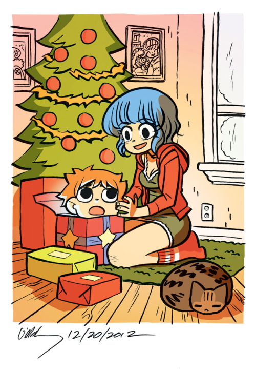 radiomaru:  happy holidays from scott pilgrim & ramona flowers!  aaaagh she found his head in a box