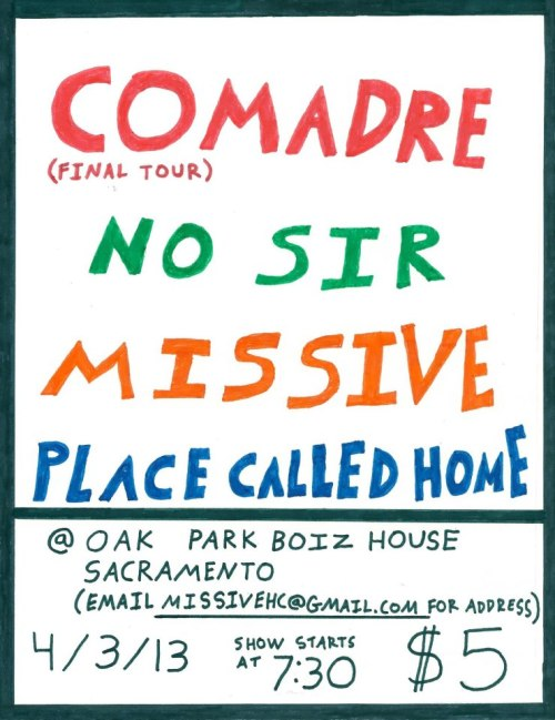 We will be playing with Comadre on their final tour. This will be the last time to see them play in Sacramento, don't miss out!