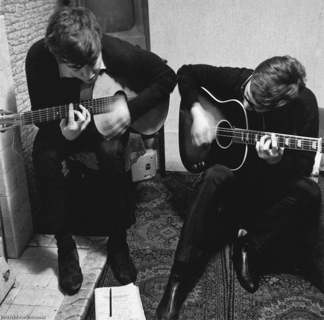 Paul McCartney And John Lennon Writing I Saw Her Standing There 1962
