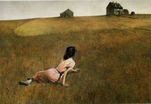 chronophobics:  Christina's world by Andrew Wyeth (1948) Tempera on Plaster, 82 x 121 cm Museum of Modern Art, New York This painting is definitely one of the most famous American paintings of the 20th century. It captures Christina Olson, a girl suffering from palsy who was a neighbor of the author in Maine. In the painting, she is slowly struggling to get to the house in the distance through the field. Wyeth made a comment about this piece and explained that he wanted to capture her extraordinary fight for life, which many people would regard as hopeless.  This painting is extremely detailed - every single hair and single blade of grass is painted separately. Wyeth struggled to capture the whole field for several months, and this struggle is believed to be the reflection of the effort the protagonist of the whole happening on the field is making.
