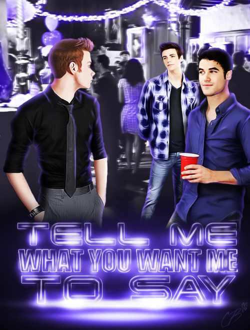 My cover for the Kurtbastian fanfic Tell me what you want me to say. I did it for the russian translation of that fic by my friend shoich. So I'm gonna share a link to the translation later.
