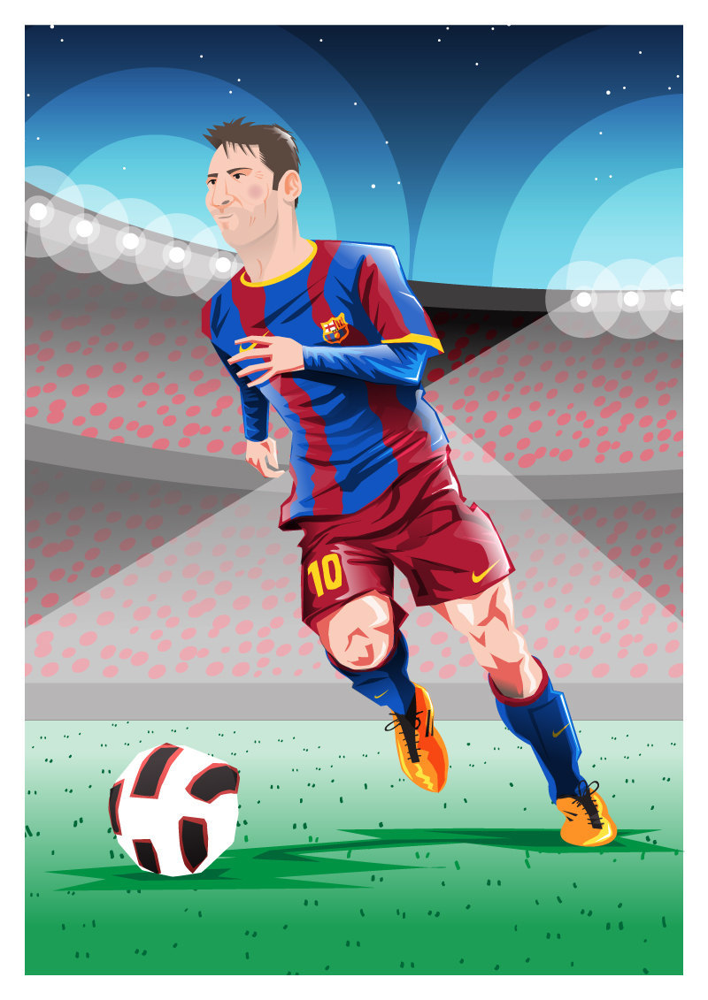 "Neither words nor numbers do him justice. By Dan Leydon ""My thoughts on Messi are probably a lot like everyone else's; I feel like I'm witnessing something special every time I watch him play. When he was through on goal the other night and then collapsed in a heap clutching his knee I was worried he'd lose some of his ability to a serious injury. But no, he just came back in the next game and scored two ridiculous finishes to break Muller's goal record and notch 86 goals in a calendar year. Words don't do him justice. I have a feeling we won't be able to fully understand the consistency of his genius until he retires."" We're delighted to feature Dan's work on AFR. Find him on: Twitter / Tumblr / Etsy."