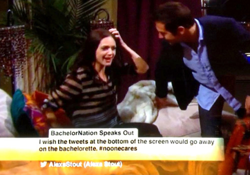 entertainmentweekly:  Yeah, someone at ABC actually let this tweet air during The Bachelorette last night.