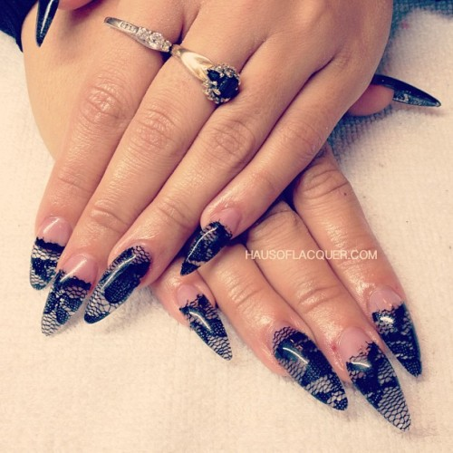 hausoflacquer:  Lace encapsulated in acrylic. Oh you fancy huh? #nailart #nails #stiletto #acrylicnails #acrylicsculpture #lace #black #holnails #bossynails #holdesign #longnails #hands #nailporn #nailswag #nailartclub #nailartoohlala #pointynails