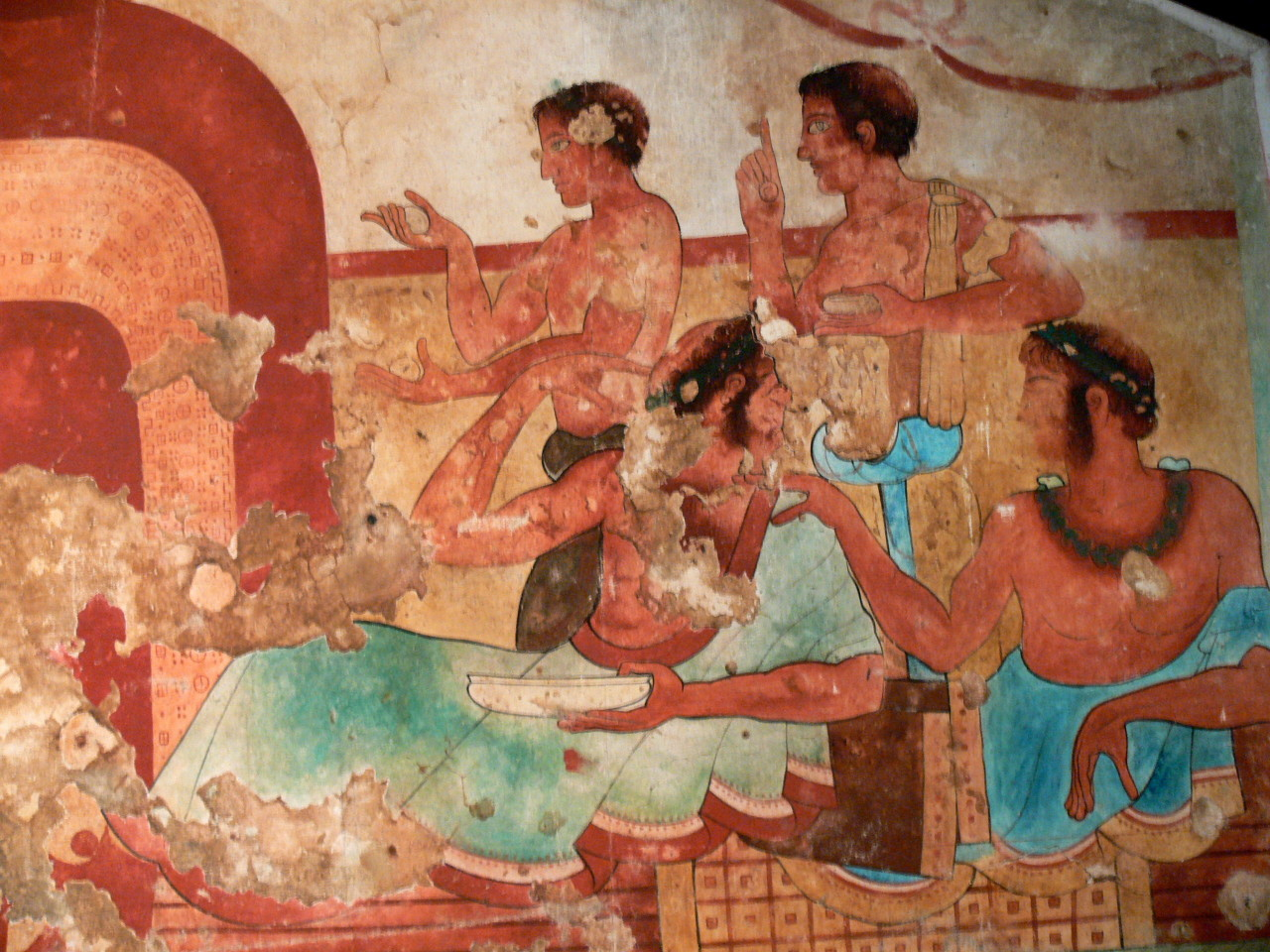 Ancient Etruscan tomb fresco showing a symposium scene. Courtesy & currently located at the Ny Carlsberg Glyptotek, Denmark. Photo taken by Wolfgang Sauber