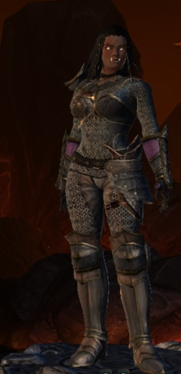 This is my Player Character in Neverwinter Online: Bhae Shal'A, Half Orc Great Weapon's Fighter! Wish she had her cape on…