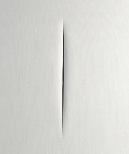 likeafieldmouse:  Lucio Fontana - Spatial Concept: Expectation (1964) - Slashed canvas and gauze