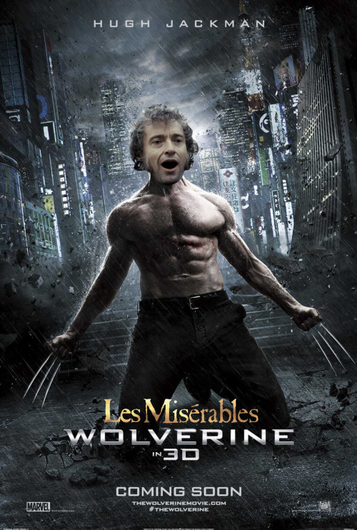 SergeantSquid, Les Miserables Wolverine, Oil on canvas, 2013 What a diverse actor! The worlds of mutants and musicals collides this summer!