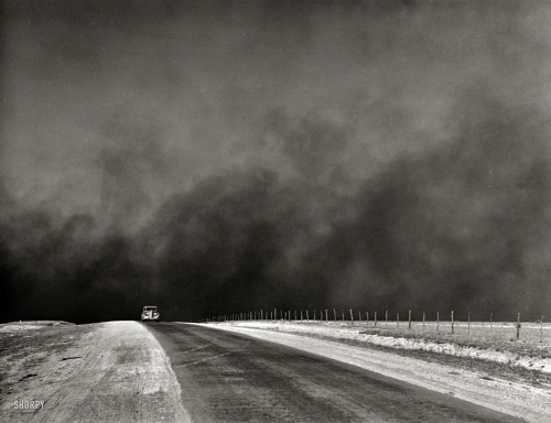 "indypendenthistory:   March 1936. ""Heavy black clouds of dust rising over the Texas Panhandle"" — evidence of the forces that were driving thousands of farm families in Texas and Oklahoma to the West Coast in the great Dust Bowl migration chronicled in ""The Grapes of Wrath."" Medium format negative by Arthur Rothstein. (via Shorpy Historical Photo Archive :: Doomsday: 1936)"
