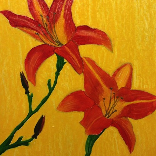 Did a painting for my best friend's new house.   #lillies #flowers #oil #paint #art #artistic #mywork #mypainting
