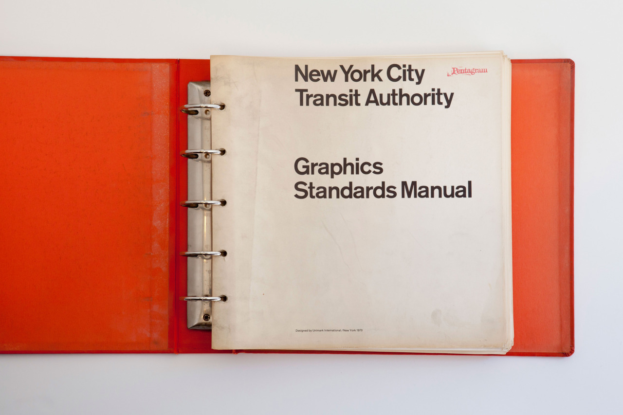 New York City Transmit Authority Graphics Standards Manual designed by Massimo Vignelli of Unimark International. The manual was found in  a locker beneath old gym clothes.