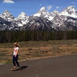 sanukfootwear:  Wyoming? Why not! @c_wild sidewalk surfin' through the Grand Teton National Forrest. Photo: Greg Von Doersten #teamsanuk #regram #gtnf