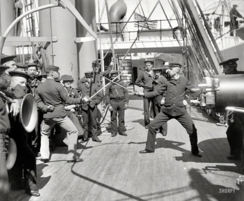 "(via X Men: 1900 | Shorpy Historical Photo Archive)  Circa 1900. ""U.S.S. Newark — sword exercise."" 8x10 inch glass negative by Edward H. Hart, Detroit Publishing Company. View full size."