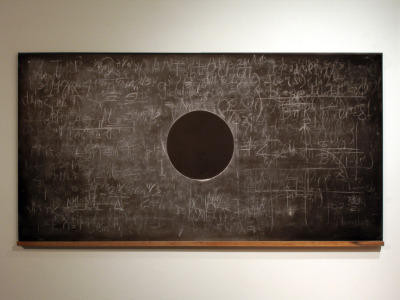 Adam David Brown, Eclipse, blackboard with layering of the scientific notations of Newton, Einstein, and Hawking in order to make a black hole
