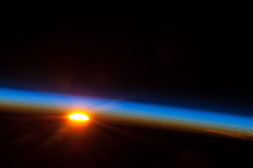 The sun rising over the South Pacific as seen from the International Space Station. Thanks NASA!  Stay Curious | Watch Brian Cox present one of the most beautiful and important Wonders of the Solar System as he travels 18km above the surface of the Earth beyond the atmosphere to The Thin Blue Line.
