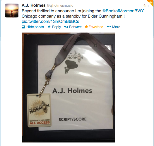 fuckyeahstarkidpotter:  Congratulations to AJ Holmes for becoming part of the Book of Mormon Chicago cast! -Adina  OMG! too bad i live nowhere near Chicago and would only want to see it if A.J. was put in.