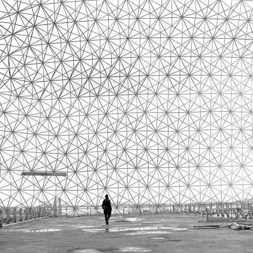 Robert Duchesnay Walking on the top-level platform 1984Buckminster Fuller's iconic geodesic dome of the Expo 67 pavilion on Montreal's Île Sainte-Hélène.