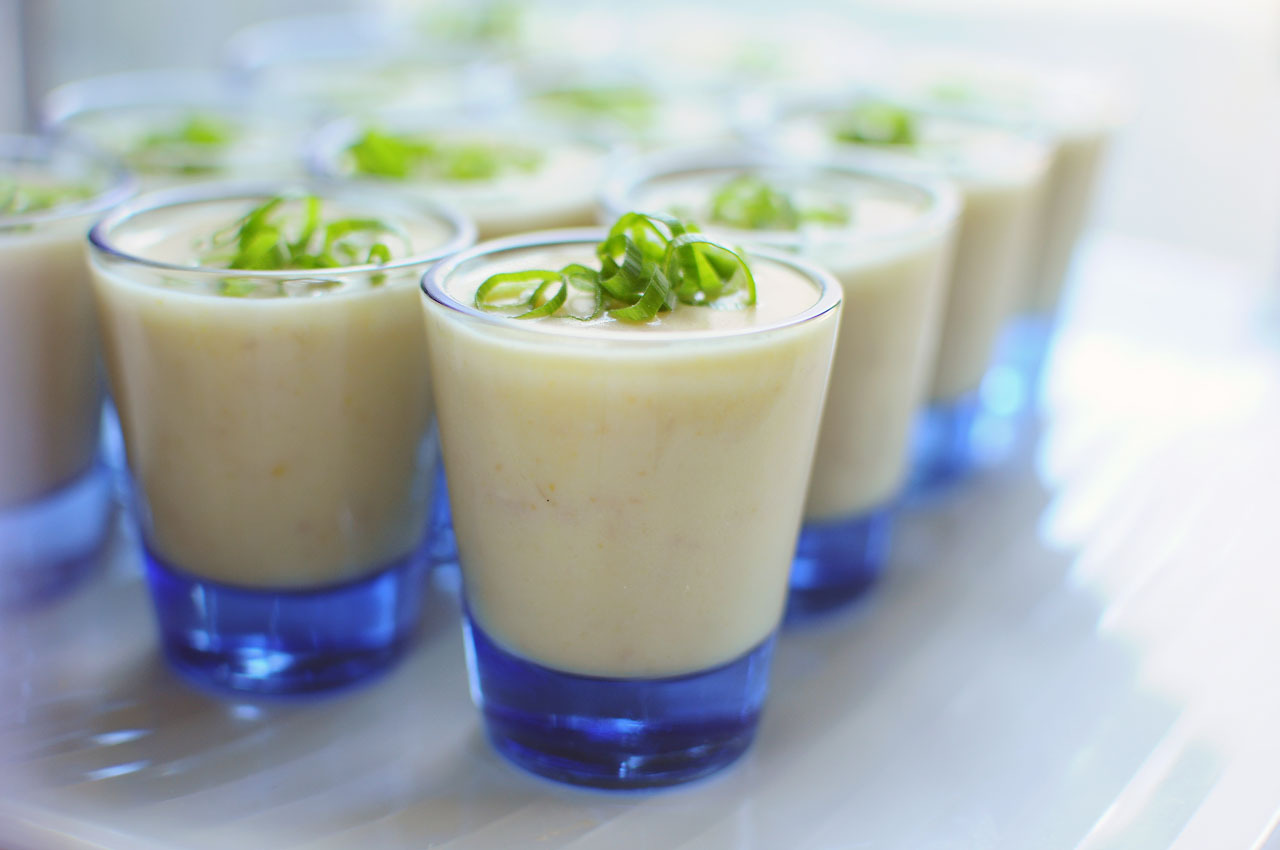 chilled potato leek soup shooters