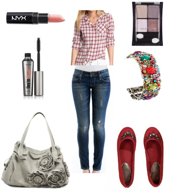 createthislookforless:  Want a more casual Valentines day look? Pendleton Plaid Shirt Skinny Jeans Beaded Top Suede Flats NYX Matte Lipstick, Pale Pink Kate Rose Pedal Shoulder Bag Maybelline Expert Quad Benefit Cosmetics They're Real Mascara Multi Color Flower Crystal Bracelet