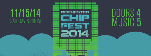 Rochester Chip, CAB, and WITR present : ROCHESTER CHIP FEST NOVEMBER 15th, 2014 @ the ROCHESTER INSTITUTE OF TECHNOLOGY Student Alumni Union (Bldg. 4) - Davis Room ( http://goo.gl/maps/KKDnI ) DOORS @ 4PM / MUSIC @ 5PM $00 FOR RIT STUDENTS ( with RIT ID ) $10 FOR GENERAL ADMISSION //PERFORMERS// TBA (x ?!?!?) ########################################### Rochester Chip is a series of events dedicated to promoting artists and groups who use the sound chips of retro computers and video game consoles to create new original music. This exciting and often experimental form of electronic music re-purposes devices such as Nintendo Gameboys and Atari 2600s as synthesizers and sequencers to create exciting new compositions in a wide array of genres. Last December, we brought you the second ROCHESTER CHIP FESTIVAL : a full day celebration of chip music, featuring nine bands, three visualists, and video games. Over the course of the day, hundreds people came and showed us that chip music has a permanent home in Rochester. On November 15th, come celebrate four years of chip music in Rochester and join WITR, CAB, EGS, and Rochester Chip as we present… ROCHESTER CHIP FESTIVAL 2014. ########################################### https://www.facebook.com/events/262570273866635/http://rochesterchip.tumblr.com/http://www.facebook.com/groups/rochesterchiphttps://www.facebook.com/CABatRIThttps://www.facebook.com/89.7WITRhttps://www.facebook.com/EGSRIT teaser design by Carly Rumpf.