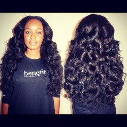 My client Brittany — partial weave, center part. Brazilian hair from Aliexpress, vendor - Queen Weave Beauty (5 bundles / 12-28in) #hairstylist #weave #brazilianhair #extensions