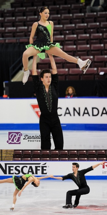 Taylor LeClaire and Christopher Mostert skating their short program at the 2013 Novice Canadian National Championships.