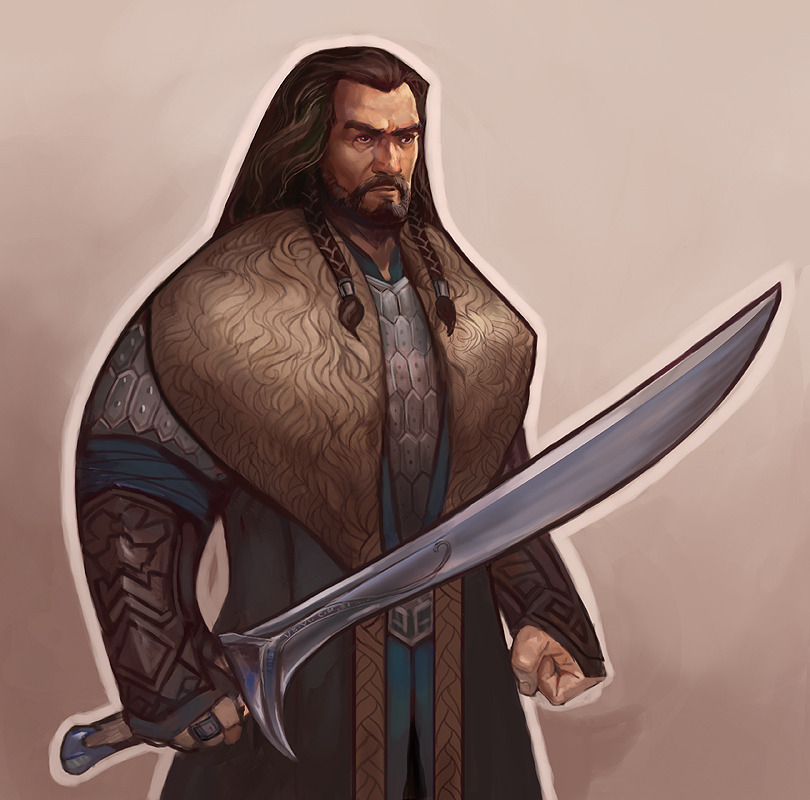 papermachette:  juliedillon:  More dwarves :B Just Thorin and Dwalin this time, though. I wanted to try  something where the main shapes were simplified and stylized (inspired by bridgioto's Secret of Kells styled dwarves), but I wanted to try rendering within the stylized shapes to an extent. Simplifying the shapes while maintaining the general feel of the characters was really reeeeeally hard for me. I had to really fight with myself to not break up some of those big outlined curves, gah.  I dunno. Fun experiment, anyway. :)  edit: I probably won't do many more. maaaaaaybe a Gandalf. Not sure.  I think im in love. These are gorgeous.